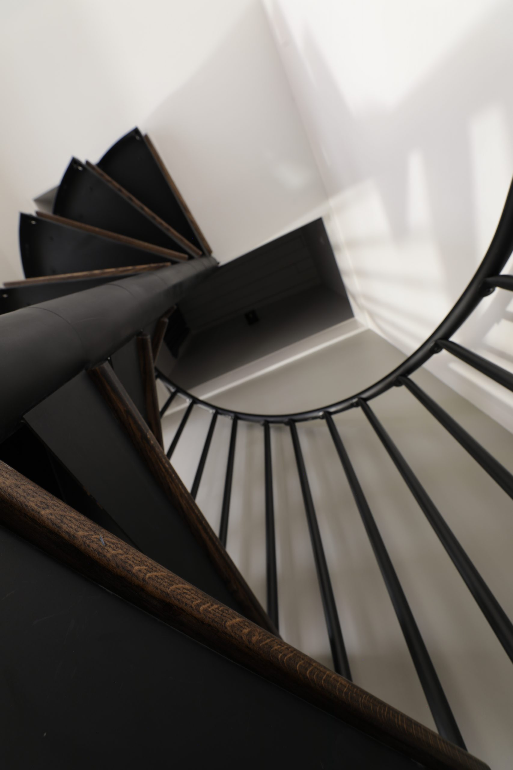 Looking up the spiral staircase in the King Loft Suite