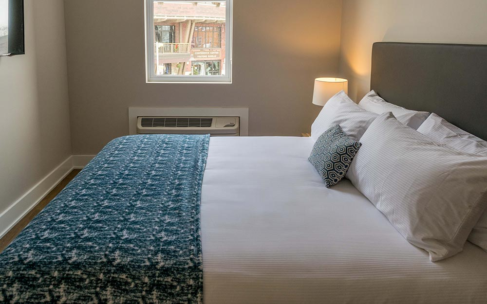 King bed with view of Olympic center