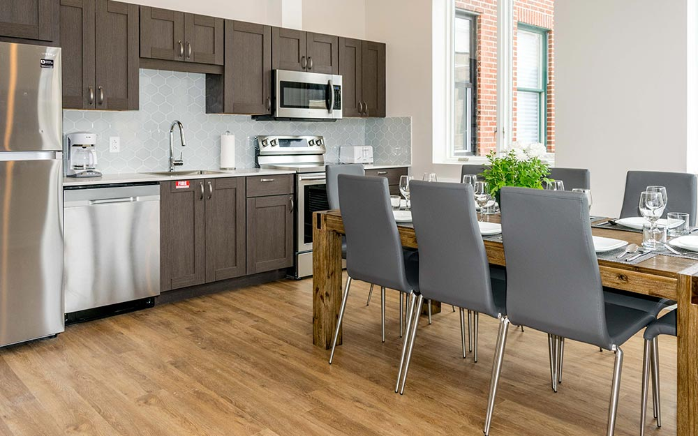 Kitchen with 6 person dining table