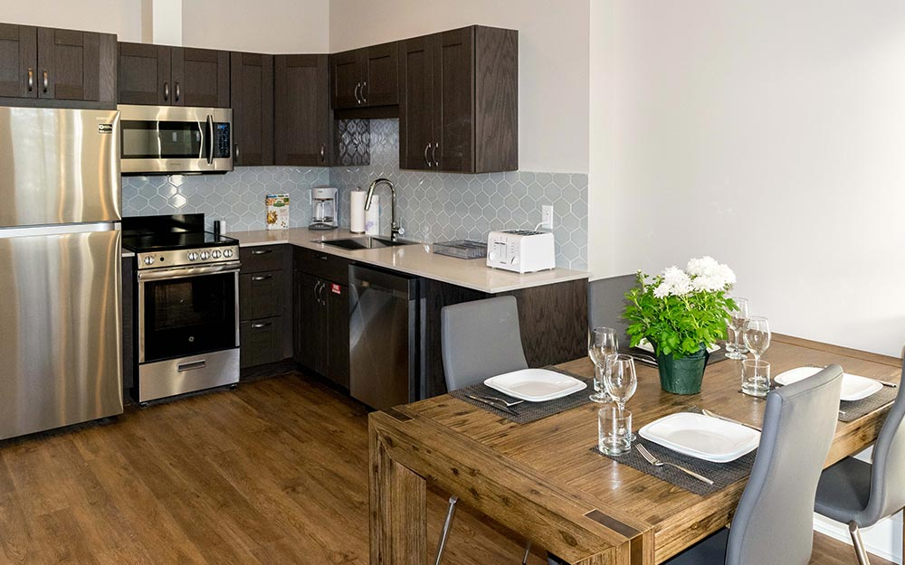 Eat in kitchen with wood table