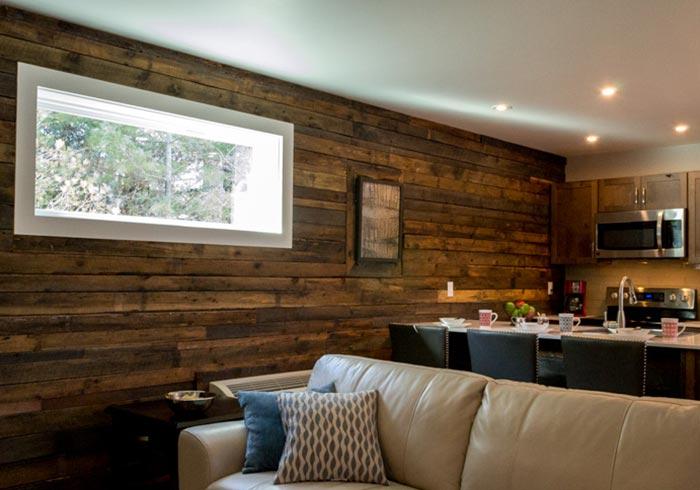 Barn board wall with window