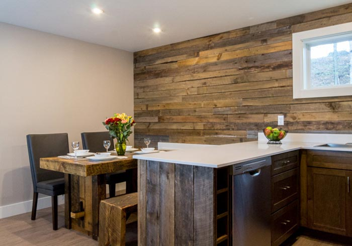 Kitchen with rustic dining table