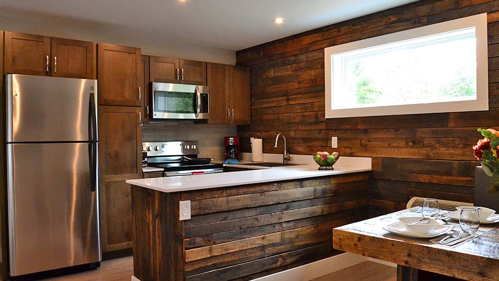 Rustic wood planked wall in kitchen